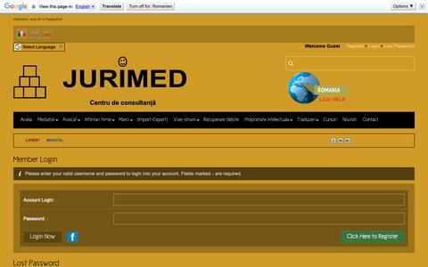 Screenshot of Login Page jurimed.ro - Jurimed - Centru de consultanta si mediere Bucuresti  |  Home - captured Oct. 14, 2018
