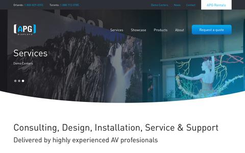 Screenshot of Services Page apgdisplays.com - Services | Consulting, Design, Installation, Service & Support | APG Displays - captured Nov. 6, 2018