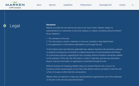 Screenshot of Terms Page marken.com - Legal - Marken - captured Sept. 20, 2018