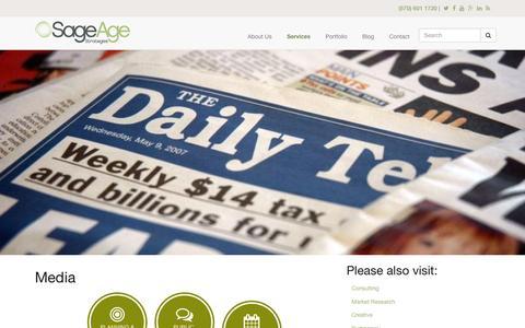 Screenshot of Press Page sageagestrategies.com - Media | Sage Age Strategies - captured Dec. 1, 2015