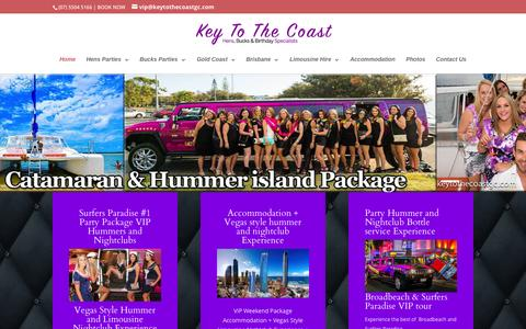 Screenshot of Home Page keytothecoastgc.com - Hummer hire gold coast | party boat gold coast - captured Sept. 6, 2015