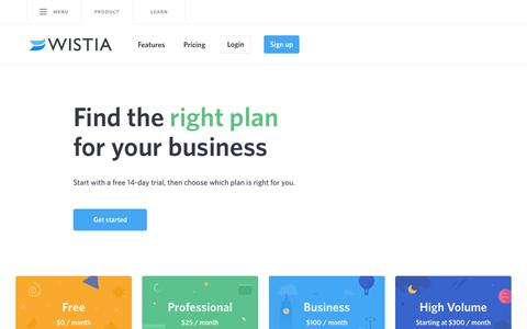 Screenshot of Pricing Page wistia.com - Pricing for Business Video Sharing - captured June 22, 2015