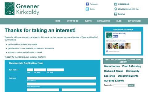 Screenshot of Signup Page greenerkirkcaldy.org.uk - Become a member | Greener Kirkcaldy - captured Sept. 30, 2014