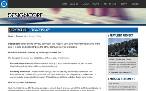 Screenshot of Privacy Page designcore.ca - Designcore Engineering Ltd. - Contact Us: Privacy Policy - captured Oct. 8, 2018