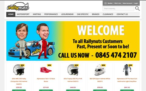 Screenshot of Home Page rallynuts.com - Racewear | Helmets | Motorsport Safety | Race and Rally Products | Competition Car Preparation | The Rally Store | Rallynuts - captured Feb. 23, 2016