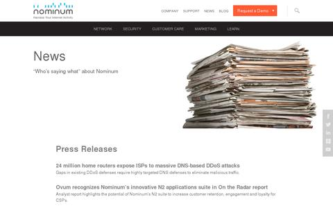 Screenshot of Press Page nominum.com - Press Releases & Press Coverage - Nominum - captured July 20, 2014