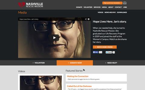 Screenshot of Press Page nashvillerescuemission.org - Media: Nashville Rescue Mission - captured Sept. 30, 2014