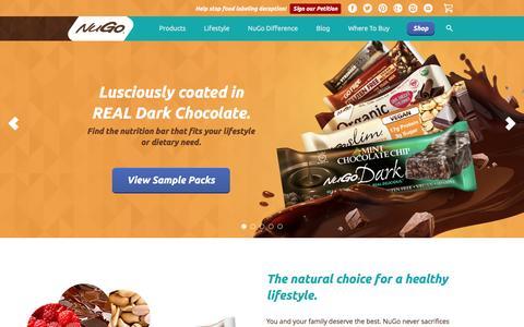 Screenshot of Home Page nugonutrition.com - Nutrition Bars   Protein Bar   Healthy Snacks - NuGo Nutrition - captured Dec. 5, 2016