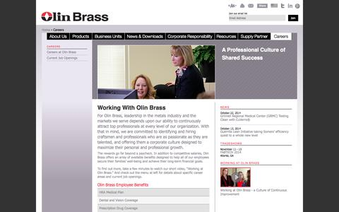 Screenshot of Jobs Page olinbrass.com - Jobs Copper & Metal Manufacturing | Careers | Olin Brass - captured Oct. 26, 2014
