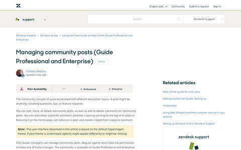 Screenshot of Support Page zendesk.com - Managing community posts (Guide Professional and Enterprise) – Zendesk Support - captured Aug. 4, 2018