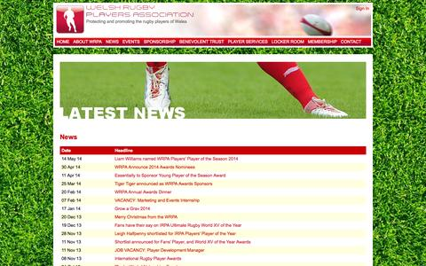 Screenshot of Press Page wrpa.co.uk - Latest News - Welsh Rugby Players Association - protecting and promoting the rugby players of Wales - captured Oct. 7, 2014