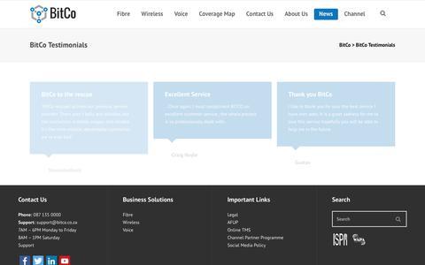 Screenshot of Testimonials Page bitco.co.za - Client, Business & Consumer Testimonials | BitCo - captured June 27, 2017