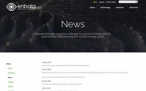Screenshot of Press Page enbala.com - News - Enbala - captured Jan. 24, 2018