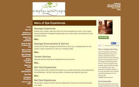 Screenshot of Menu Page simplyyourspa.com - Simply Your Spa - Spa Services, massage,Deep tissue massage,couples massage facials, waxing, nails, yoga,charleston,SC - captured Sept. 30, 2014