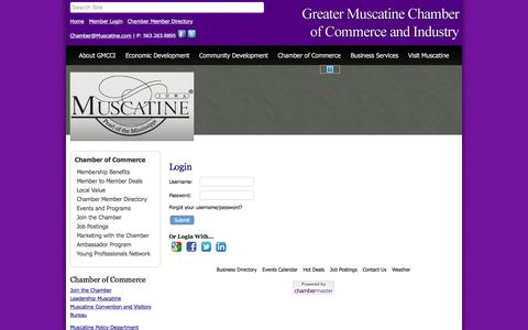 Screenshot of Login Page muscatine.com - Login - Greater Muscatine Chamber of Commerce & Industry, IA - captured Nov. 15, 2016