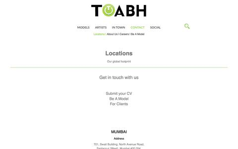 Screenshot of Contact Page Locations Page toabh.com - TOABH Talent Management - captured May 29, 2019