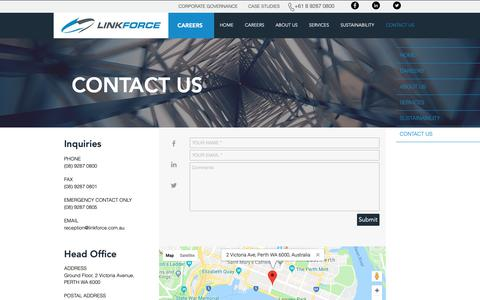 Screenshot of Contact Page linkforce.com.au - Integrated Engineering Services | CONTACT US - captured Sept. 29, 2018