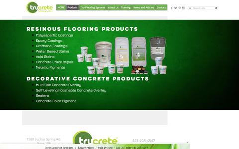Screenshot of Products Page trucrete.com - TruCrete Products - captured Sept. 27, 2016