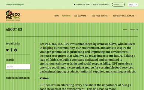 Screenshot of About Page ecopaktrak.com - ABOUT US | Eco Paktrak, Inc. - captured Jan. 25, 2016