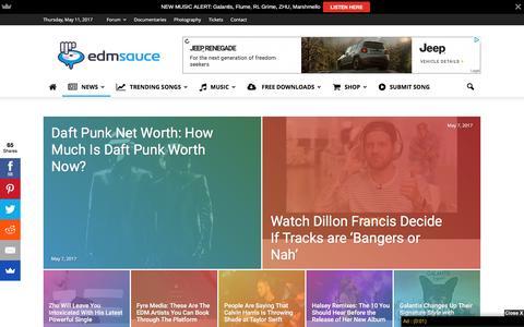 Screenshot of Press Page edmsauce.com - EDM News on EDM Sauce | Interviews, Reviews - captured May 12, 2017