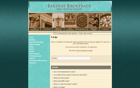 Screenshot of FAQ Page barshay.com - F.A.Qs - captured Oct. 1, 2016