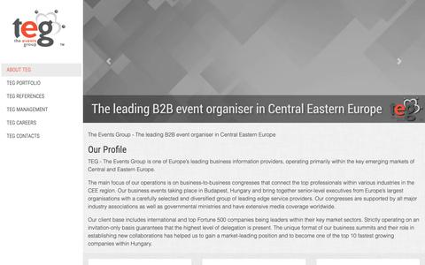 Screenshot of Home Page tegevents.eu - About TEG - The Events Group - captured Nov. 19, 2018