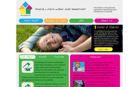 Screenshot of Home Page yfoundations.org.au - Yfoundations Creating a future without youth homelessness - captured Jan. 26, 2015
