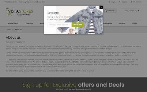 Screenshot of About Page vistastores.com - About us - captured Dec. 11, 2016