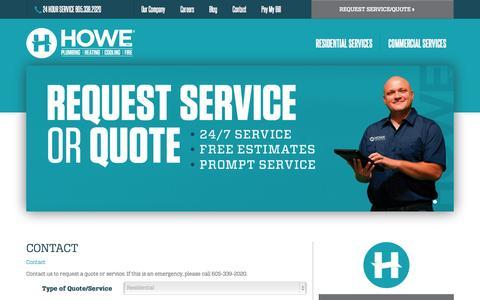 Screenshot of Contact Page howeinc.com - Howe, Inc. - Contact - captured Nov. 2, 2014