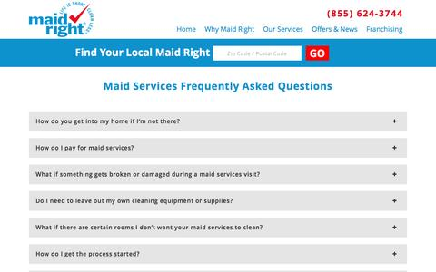 Screenshot of FAQ Page maidright.com - Maid Services | Maid Right - captured Dec. 28, 2016