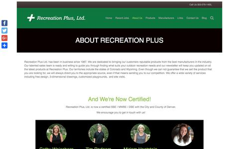 Screenshot of About Page recreationplus.com - About Us – Recreation Plus - captured Oct. 20, 2017