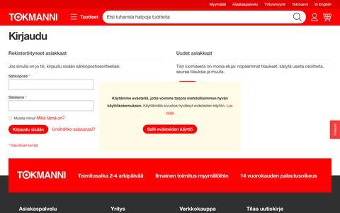 Screenshot of Login Page tokmanni.fi - Kirjaudu - captured Sept. 24, 2018