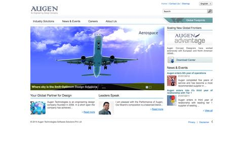 Screenshot of Home Page augentech.com - Welcome to Augentech - captured Oct. 4, 2014