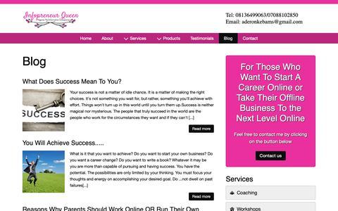 Screenshot of Blog infopreneurqueen.com - Blog - captured Oct. 12, 2018