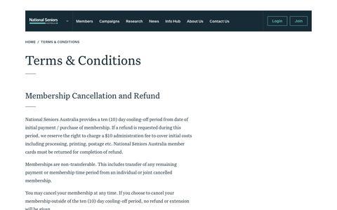 Screenshot of Terms Page nationalseniors.com.au - Terms & Conditions - National Seniors - captured Oct. 18, 2018