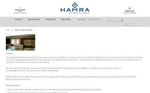 Screenshot of Jobs Page hamra.com - Careers - Hamra Jewelers - captured Oct. 1, 2016