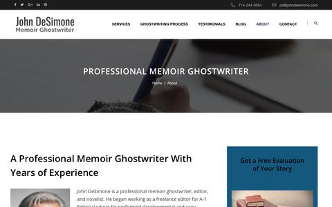 Screenshot of About Page johndesimone.com - Professional Memoir Ghostwriter - captured Nov. 18, 2018