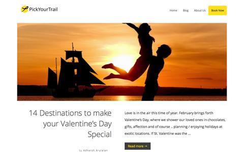 Screenshot of Blog pickyourtrail.com - PickYourTrail Blog - Stop Touring. Start Travelling. - captured Feb. 16, 2016