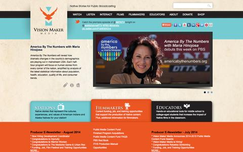 Screenshot of Home Page Services Page visionmakermedia.org - Native Stories for Public Broadcasting   Vision Maker Media - captured Oct. 7, 2014