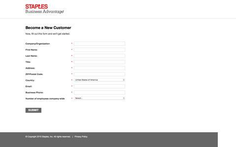 Screenshot of Landing Page staplesadvantage.com - Contact Staples Advantage - captured April 22, 2016