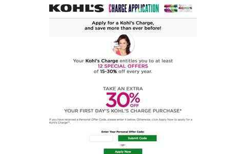 Screenshot of Landing Page kohls.com - My Kohl's Charge Card | Kohl's - captured Aug. 12, 2016