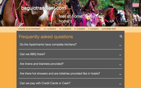 Screenshot of FAQ Page baguiotransient.com - Transient houses in Baguio, baguiotransient.com   FAQ - captured Nov. 23, 2016