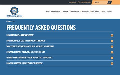 Screenshot of FAQ Page ssiworld.com - FAQ's - captured Nov. 16, 2016