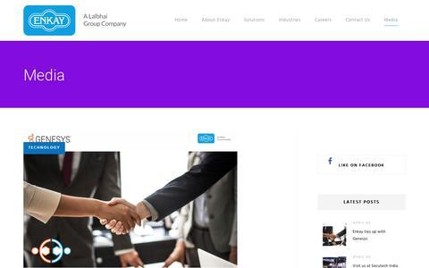 Screenshot of Press Page enkayindia.com - Media – Enkayindia - captured Sept. 28, 2018