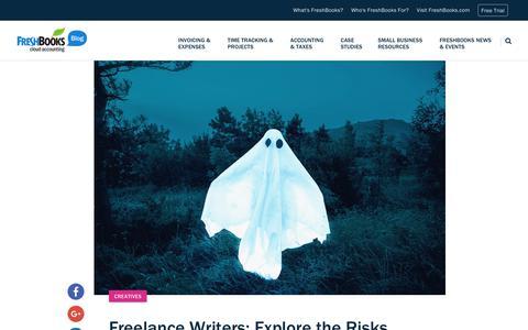Screenshot of Blog freshbooks.com - Freelance Writers: Explore the Risks and Rewards of Ghostwriting | FreshBooks Blog - captured Dec. 5, 2017