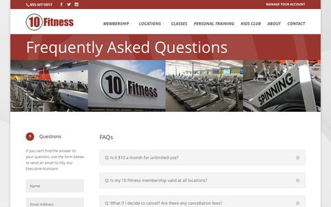 Screenshot of FAQ Page 10fitness.com - Frequently Asked Questions - 10 Fitness - captured Feb. 24, 2016
