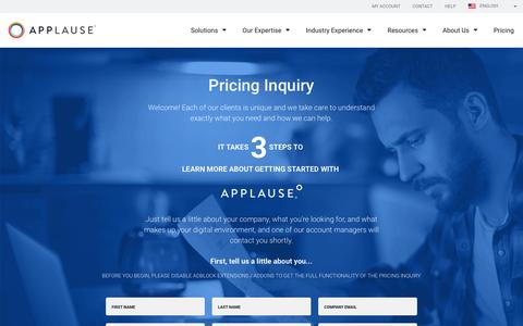 Screenshot of Pricing Page applause.com - Pricing Inquiry | Applause - captured March 15, 2017