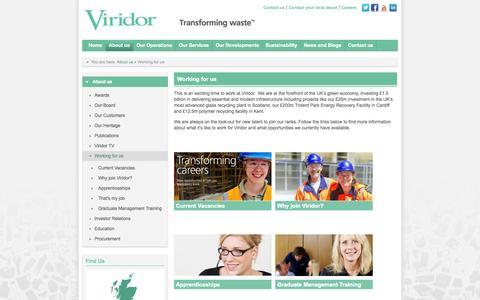 Screenshot of Jobs Page viridor.co.uk - Working for us - captured Oct. 4, 2014