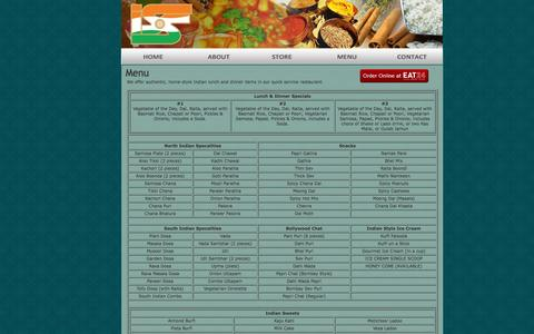 Screenshot of Menu Page indiasweetsandspices.us - India Sweets & Spices - Menu - captured Oct. 6, 2014