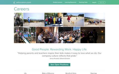 Screenshot of Jobs Page education.com - Careers | Education.com - captured Jan. 20, 2017